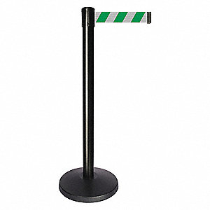 Barrier Post,Green/White Striped Belt
