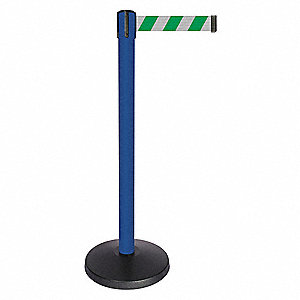 Barrier Post,Blue,Grn/White Striped Belt