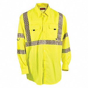 Hi-Visibility Green/Yellow Polyester Work Shirt, Size: XL, ANSI Class 2