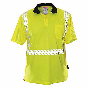 Hi-Visibility Green/Yellow Polyester Polo Shirt, Size: 2XL, ANSI Class 2