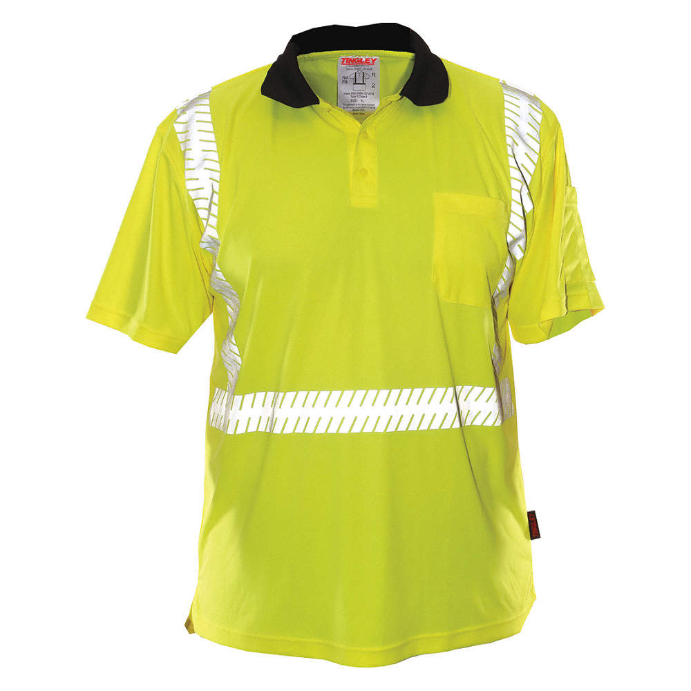 Tingley Hi Visibility Greenyellow Polyester Polo Shirt Size M
