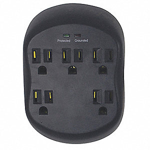 Surge Protector Plug Adapter, Black, Connector Type: 5-15R, Plug Configuration: 5-15P