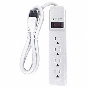 Surge Protector Outlet Strip,4 ft.,White