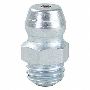 "Grease Fitting,Straight,Stl,33/64""L,PK10"