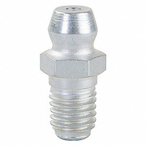"1/4""-28-SAE-LT Straight Head Angle, Standard Grease Fitting, Zinc-Plated Steel, 11/16"", PK10"