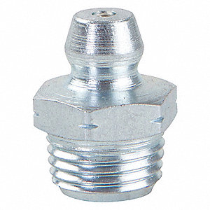 "1/8""-27 Straight Head Angle, Drive (Push-In) Grease Fitting, Zinc-Plated Steel, 5/8"", PK10"
