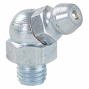 "1/4""-28-SAE-LT 65.0° Head Angle, Standard Grease Fitting, Zinc-Plated Steel, 47/64"", PK10"