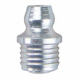 "5/16"" Straight Head Angle, Drive (Push-In) Grease Fitting, Zinc-Plated Steel, 35/64"", PK10"