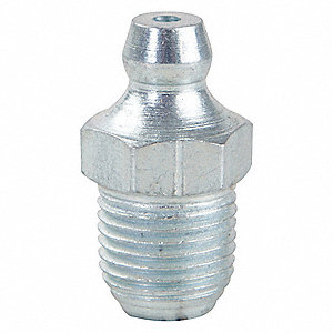 "1/8""-27-NPTF Straight Head Angle, Standard Grease Fitting, Zinc-Plated Steel, 27/32"", PK10"