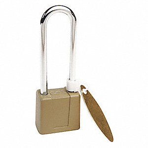 "Different-Keyed Padlock, Open Shackle Type, 2-3/4"" Shackle Height, Green"