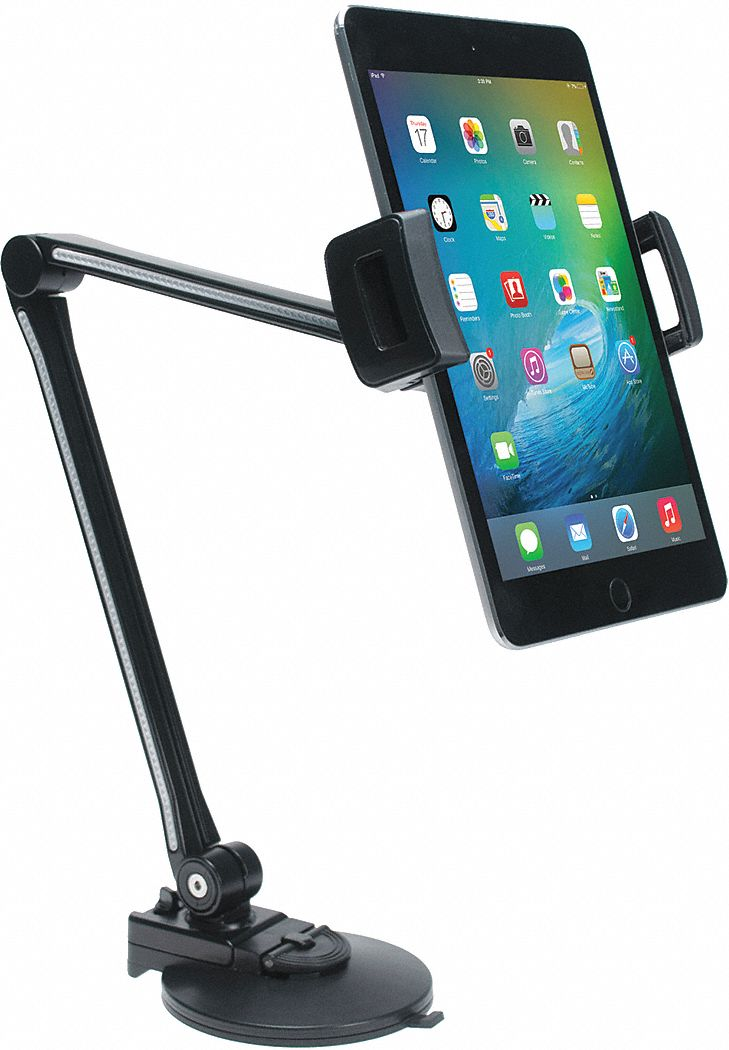 "Arm Tablet Stand, Black, Plastic, 3-1/8"" W"