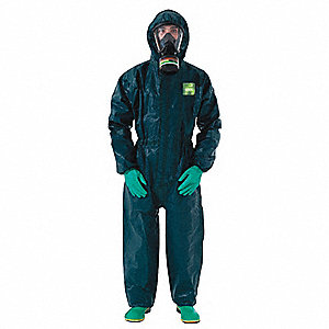 Hooded Coverall with Elastic Cuff, Green, S, Chemical Laminate M4000