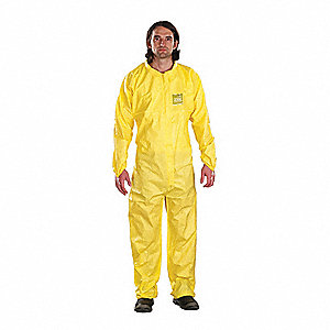 Collared Coveralls with Elastic Cuff, Chemical Laminate Material, Yellow, XL