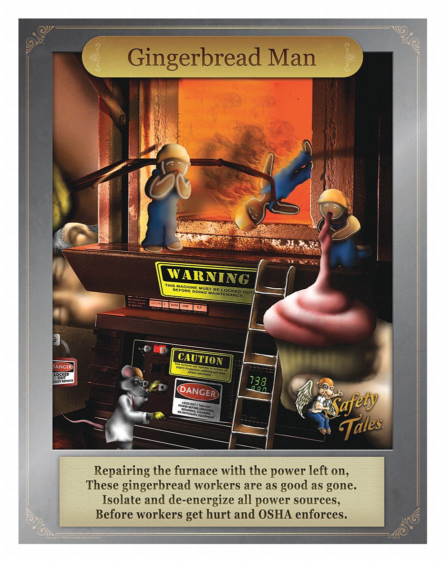Safety Poster,  Safety Banner Legend Gingerbread Man - Power Down Machines,  21 in x 27 in,  English