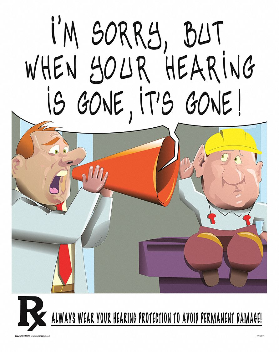 Safety Poster,  Safety Banner Legend Hearing Protection,  21 in x 27 in,  English