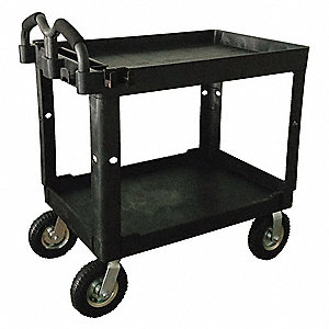 Polypropylene Raised Handle Utility Cart, 500 lb. Load Capacity, Number of Shelves: 2