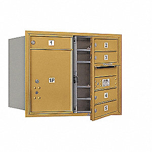 "Mailbox,Front Loading,5 Doors,23-1/2"" H"