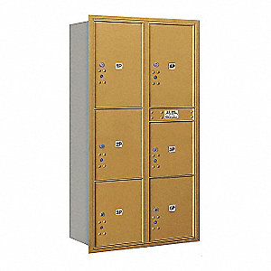 "Mailbox,Recessed Mnt,Gold,56-3/4"" H"