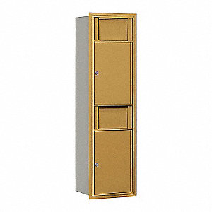 "Mailbox,Recessed Mnt,Gold,1 Door,17"" D"