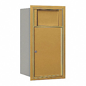 "Mailbox, 4C Receptacle, Gold, 1 Door, 27"" H"
