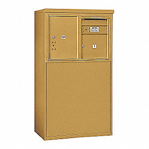 "Mailbox, 4C, USPS, Gold, 1 Door, 48-1/4"" H"