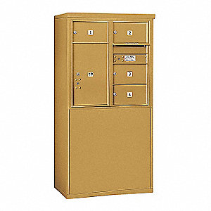 "Mailbox, 4C/Private, Gold, 5 Doors, 58-3/4""H"