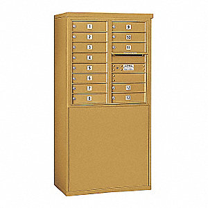 "Mailbox,4C/Private,Gld,13 Doors,58-3/4""H"