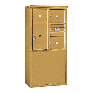 "Mailbox,4C/Private,Gold,4 Doors,62-1/4""H"