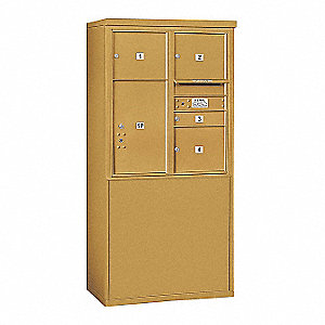 "Mailbox, 4C/Private, Gold, 5 Doors, 19"" D"