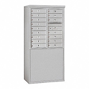"Mailbox, 4C/Private, Alum, 16 Doors, 19"" D"