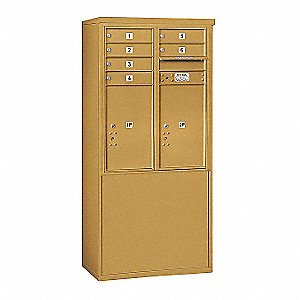 "Mailbox, 4C/Private, Gold, 8 Doors, 19"" D"