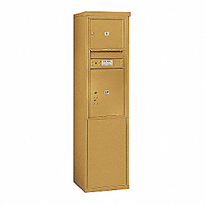 "Mailbox,Horizontal,Gold,2 Doors,17-1/2""W"