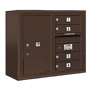 "Mailbox, Front Loading, 4 Doors, 24-5/8"" H"