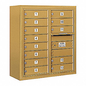 "Mailbox,4C/Private,Gld,13 Doors,31-5/8""H"