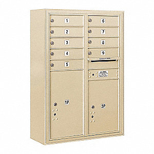 "Mailbox, Surface Mount, 9 Doors, 17-1/2"" D"
