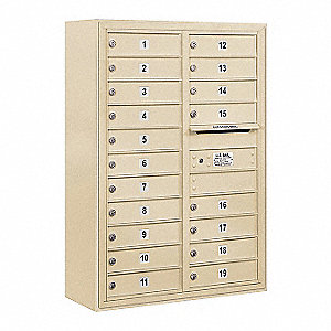 "Mailbox,Surface Mount,19 Doors,42-1/8"" H"