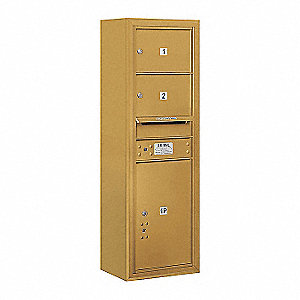 "Mailbox, 4C/Private, Gold, 2 Doors, 17-1/2""W"