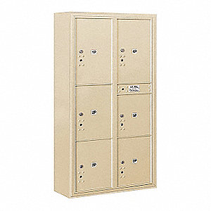 "Mailbox, 4C/Private, 6 Doors, 57-7/8"" H"