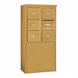 "Mailbox,4C/Private,Gold,6 Doors,19"" D"