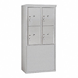 "Mailbox,4C/Private,Aluminum,4 Doors,19""D"