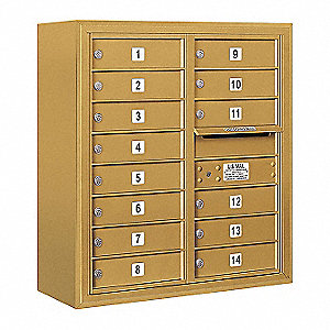 Mailbox,4C/Private,Gold Color,14 Doors