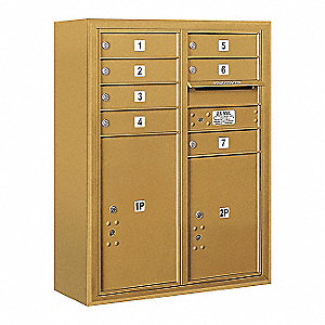 "Mailbox,4C/Private,Gold,7 Doors,38-5/8""H"