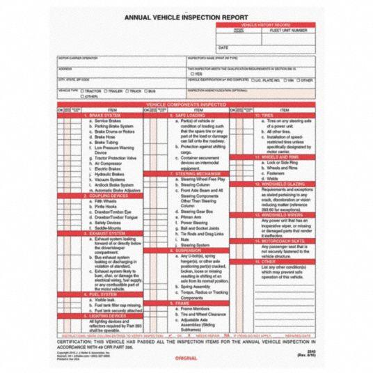 inspection annual vehicle report keller safety form jj label control traffic grainger carbonless industrial labels signs