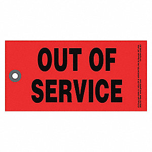 "Out of Service Tag,Rectangle,7/64""H,PK50"