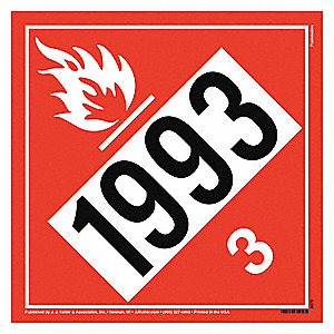 "10-3/4"" x 1/32"" Class 3 Vinyl Vehicle Placard, Red"