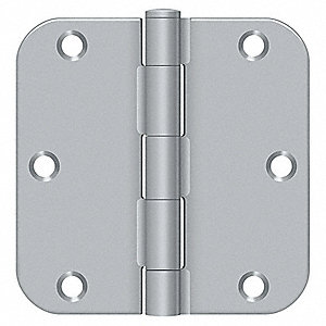 "3-1/2"" x 1-3/4"" Butt Hinge with Satin Chrome Finish, Full Mortise Mounting, Rounded Corners"