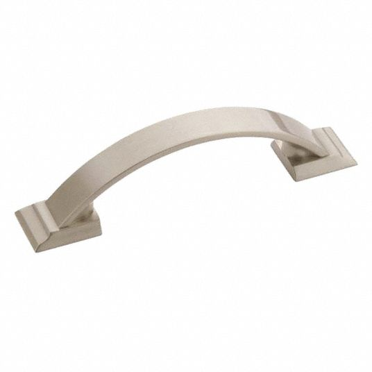Zinc Pull Handle with Satin Nickel Finish, Silver; Hardware Included