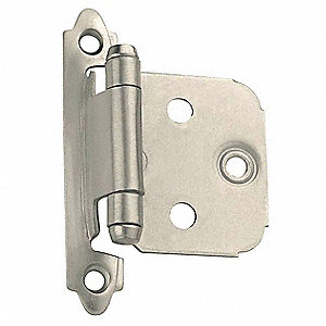 "Spring Hinge With Holes, Satin Nickel Finish, Rounded Corners, 2-3/4"" x 1/2"""