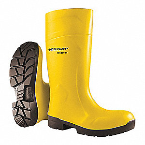 "15""H Unisex Knee Boots, Steel Toe Type, Polyurethane Upper Material, Yellow, Size 11"