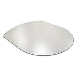 "Contoured Chair Mat, Clear, For Carpet with Padding Up to 1/4"" Thick"